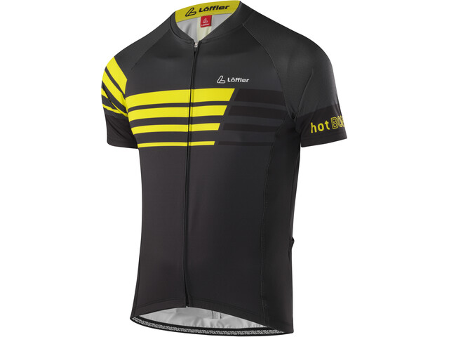 Löffler Hotbond Reflective Bike Jersey Full-Zip Men, black/lemon